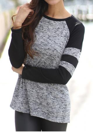 Color Block Splicing Long Sleeve Blouse Color
