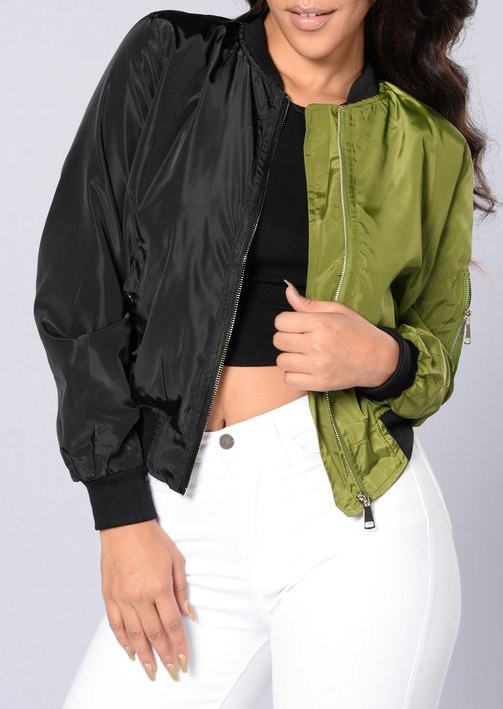 Image of Color Block Two Faced Bomber Jacket