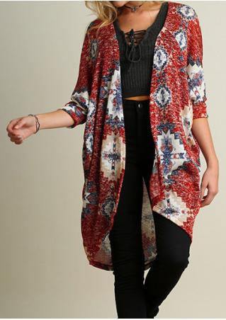 Printed Three Quarter Sleeve Loose Cardigan Without Necklace