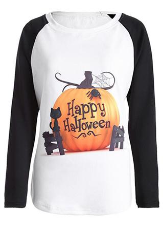 Halloween Pumpkin Letter Printed Splicing T-Shirt