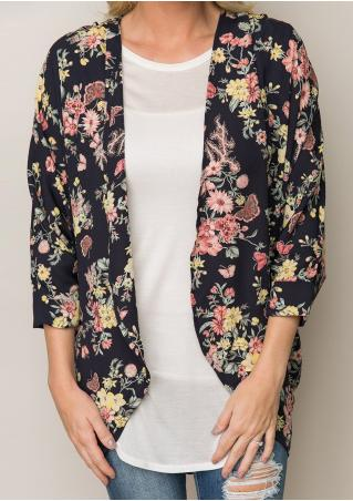 Floral Butterfly Printed Casual Cardigan