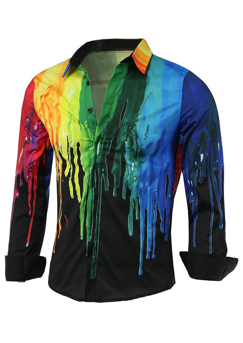 Tie dye printed casual shirt fairyseason for Tie dye printed shirts