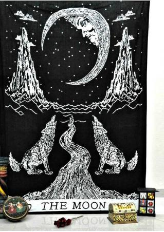 Crying Wolf Moon Tarot Printed Rectangle Tapestry