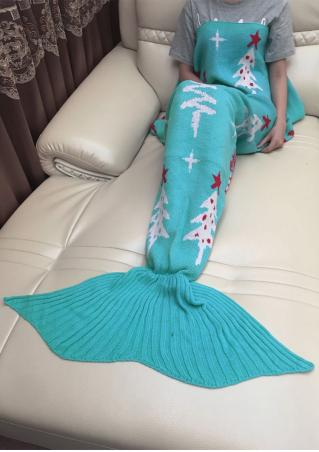 Christmas Tree Mermaid Tail Shape Blanket