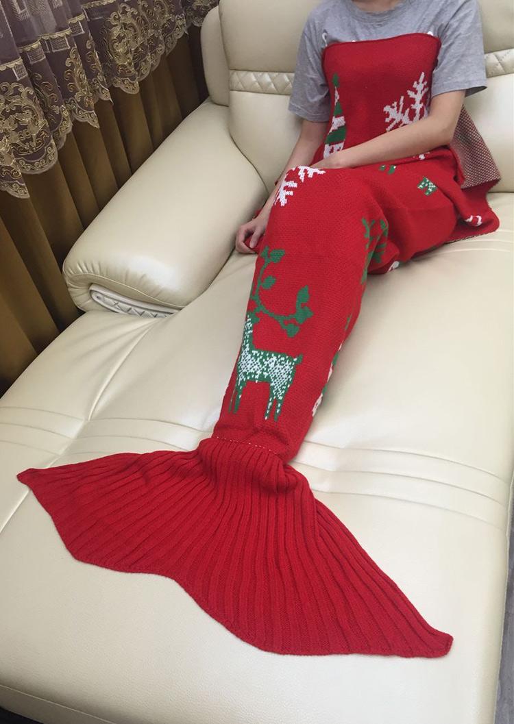 Image of Christmas Reindeer Snowflake Mermaid Tail Blanket