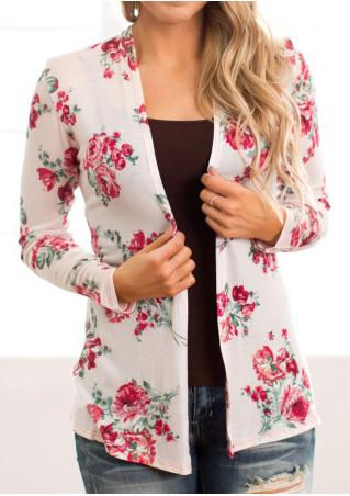 Floral Long Sleeve Slim Cardigan