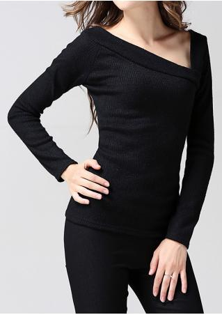 Solid Long Sleeve Slim Sweater
