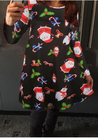 Christmas Santa Claus Printed Casual Dress Christmas