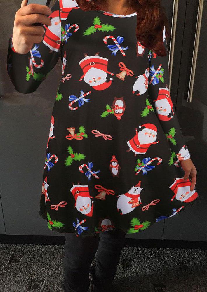 Christmas santa claus printed casual dress fairyseason