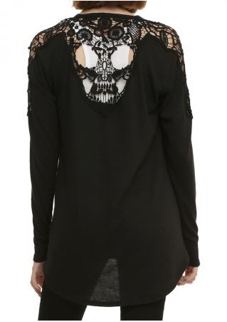 Skull Lace Splicing Long Sleeve Cardigan