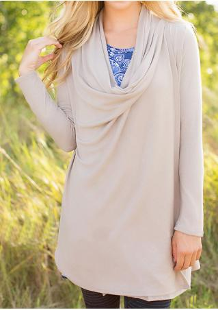 Solid Draped Long Sleeve Cardigan