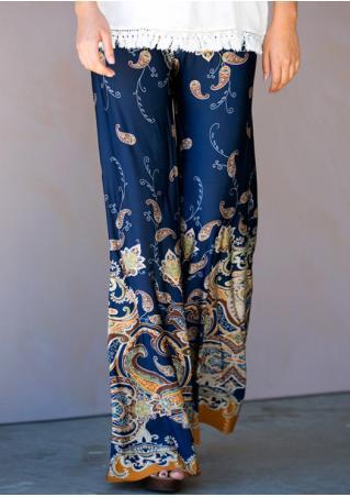 Paisley Printed Loose Wide Leg Pants