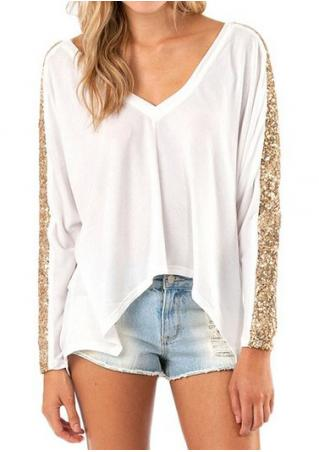 Sequined Splicing  Asymmetric Loose Blouse