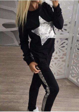 Sequined Splicing Sport Sweatshirt and Pants Set