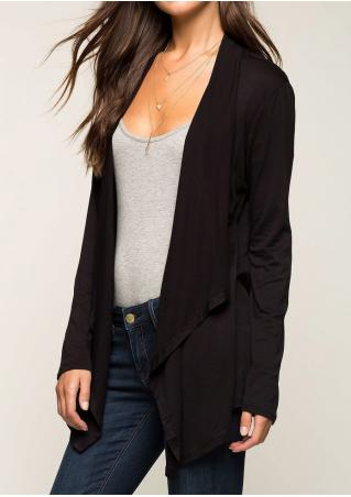 Elbow Patch Asymmetric Casual Cardigan Without Necklace