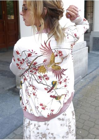 Bird Printed Long Sleeve Jacket