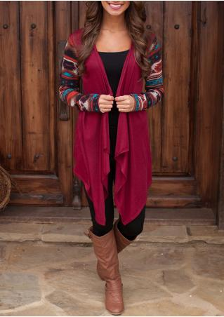 Ethnic Printed Asymmetrical Cardigan