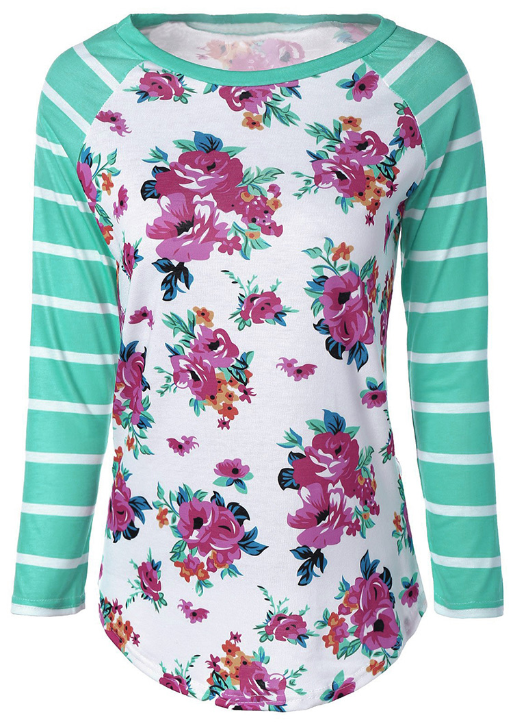 Floral Striped Long Sleeve T Shirt Fairyseason