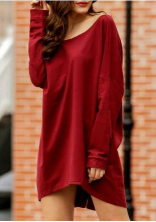 Solid Back Zipper Casual Dress
