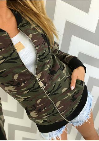 Camouflage Printed Zipper Slim Jacket