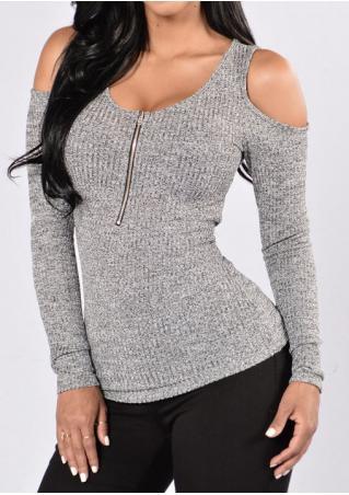 Off Shoulder Zipper Slim Knitted Blouse