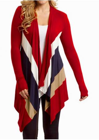 Color Block Asymmetric Long Sleeve Cardigan