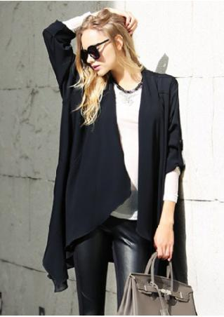 Solid Tab-Sleeve Asymmetric Cardigan