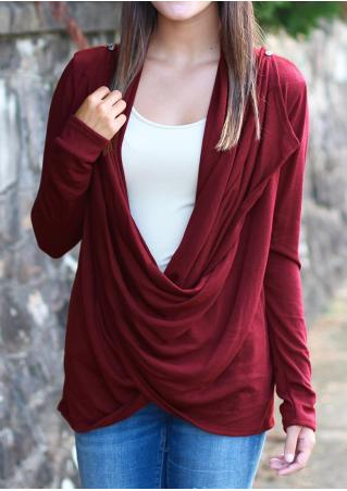 Solid Draped Asymmetric Casual Cardigan
