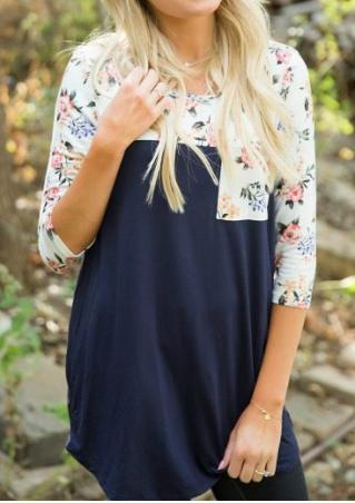 Floral Splicing Pocket Blouse Without Necklace