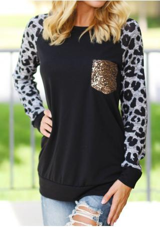 Sequined Leopard Splicing Casual T-Shirt