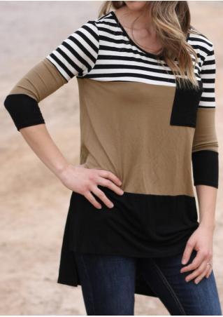 Color Block Striped Pocket Blouse Color