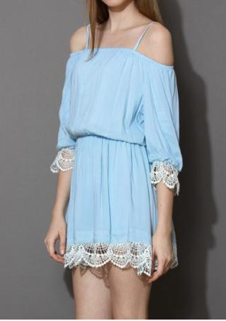 Lace Splicing Off Shoulder Mini Dress