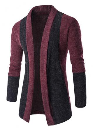 Color Block Splicing Casual Cardigan