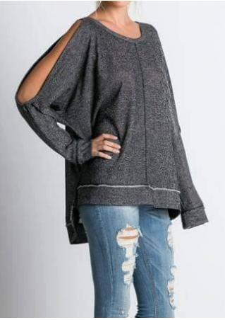Solid Asymmetric Off Shoulder Fashion Blouse Solid