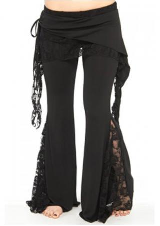 Lace Splicing Layered Skinny Flare Pants