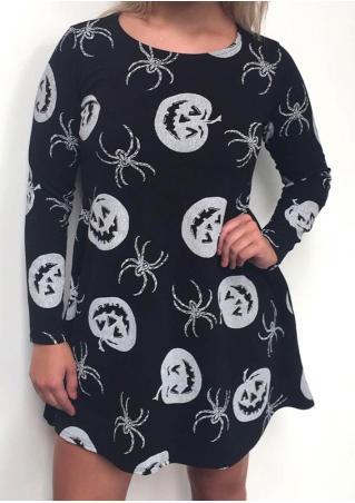 64e608dca17 Halloween Pumpkin Spider Printed Casual Dress