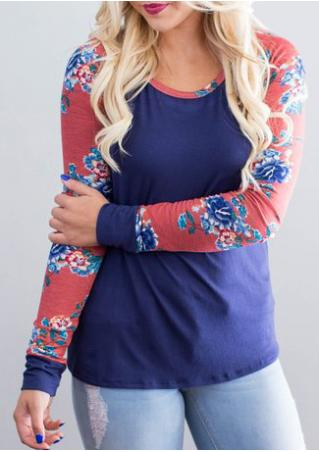 Floral Splicing Long Sleeve T-Shirt