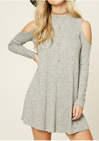Off Shoulder Knitted Mini Dress Without Necklace