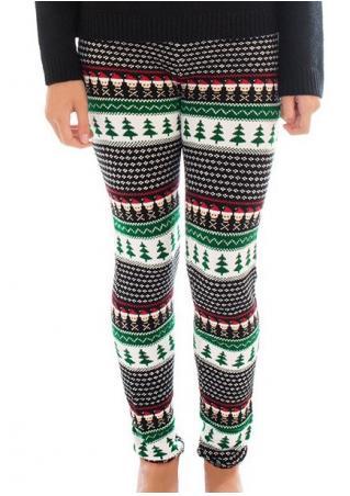 Christmas Tree Printed Stretchy Leggings