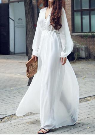 Solid V-Neck Chiffon Maxi Dress