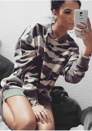 Camouflage Printed Casual Sweatshirt Without Necklace Camouflage