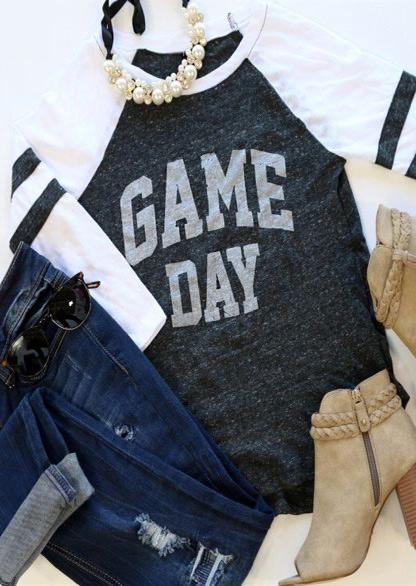 Game Day Printed Splicing O Neck T Shirt Fairyseason