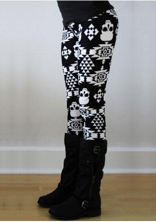 Halloween Skull Geometric Printed Leggings