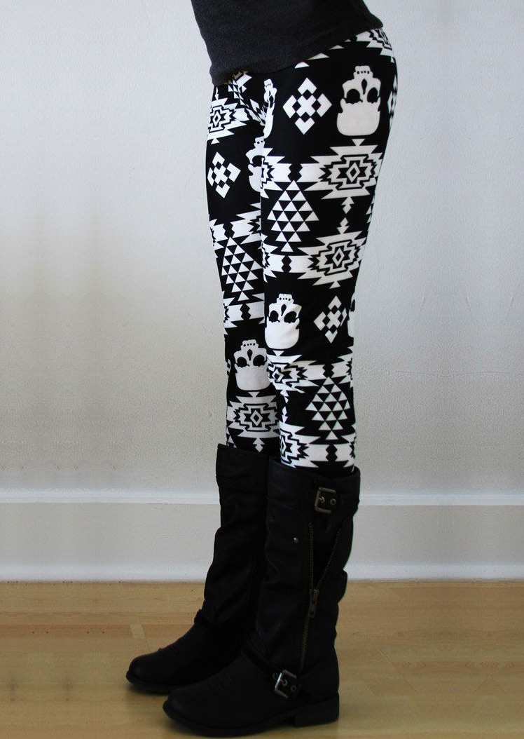Halloween Skull Geometric Printed Leggings - Fairyseason