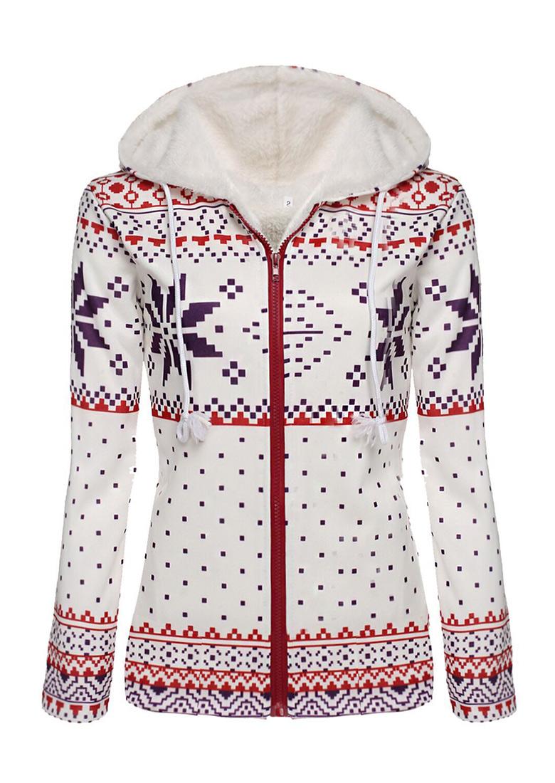 christmas geometric snowflake zipper hoodie fairyseason - Christmas Hoodie