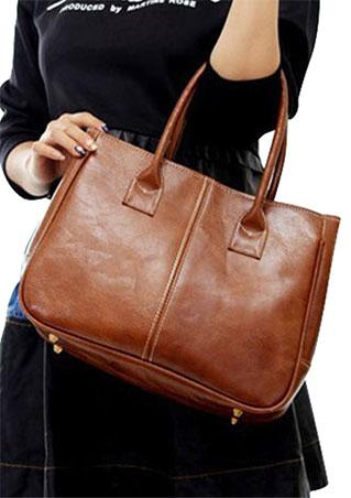 Solid Faux Leather Casual Handbag
