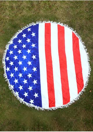 Flag Printed Round Picnic Blanket