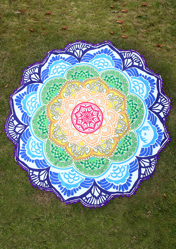 Mandala Lotus Flower Shape Picnic Blanket Fairyseason