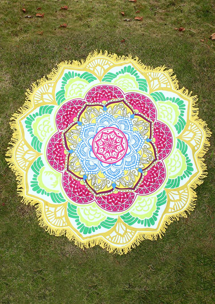Mandala Lotus Shape Picnic Blanket Fairyseason