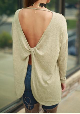 Solid Back Twisted Asymmetric Blouse Without Necklace